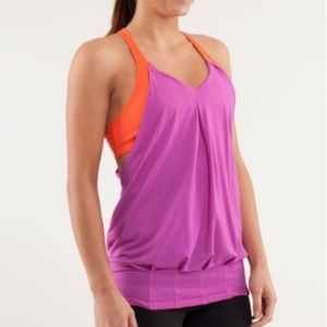 Lululemon practice freely tank top orange pink 4